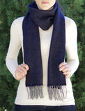 Classic herringbone scarf in a merino/wool blend, navy blue