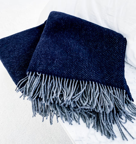 Navy Herringbone Blanket