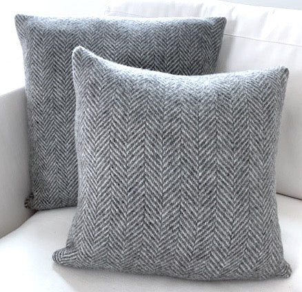 16x16 Light Grey Herringbone Throw Pillow