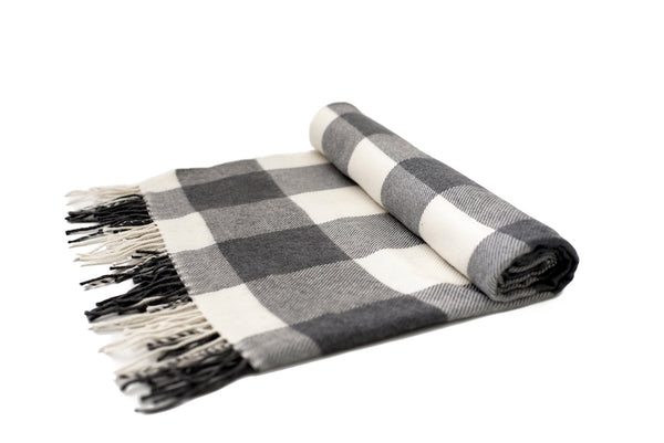 Charcoal Grey and Ivory Buffalo Check Scarf