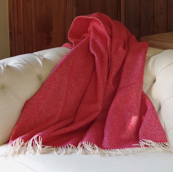 Strawberry Red Herringbone Blanket