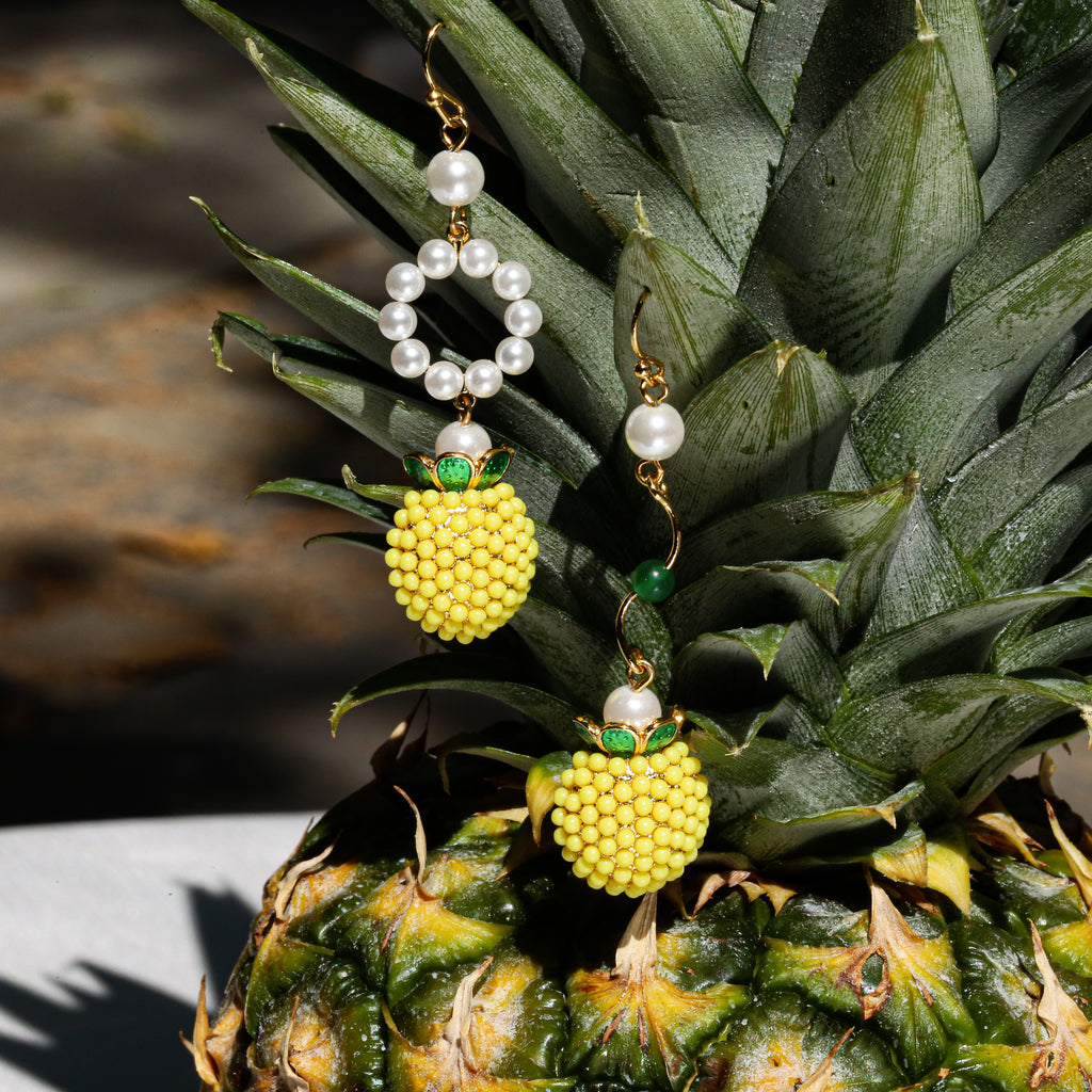 GLOW SOCIETY Fruit Collection - Beaded Pineapple with Pearl Drop Earrings