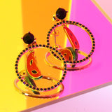 GLOW SOCIETY Fruit Collection - Black Halo Watermelon Dangle Earrings