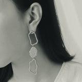 GLOW SOCIETY Curvilinear Forms Collection - Three Organic Shape & Hammered Plate Link Drop Earrings