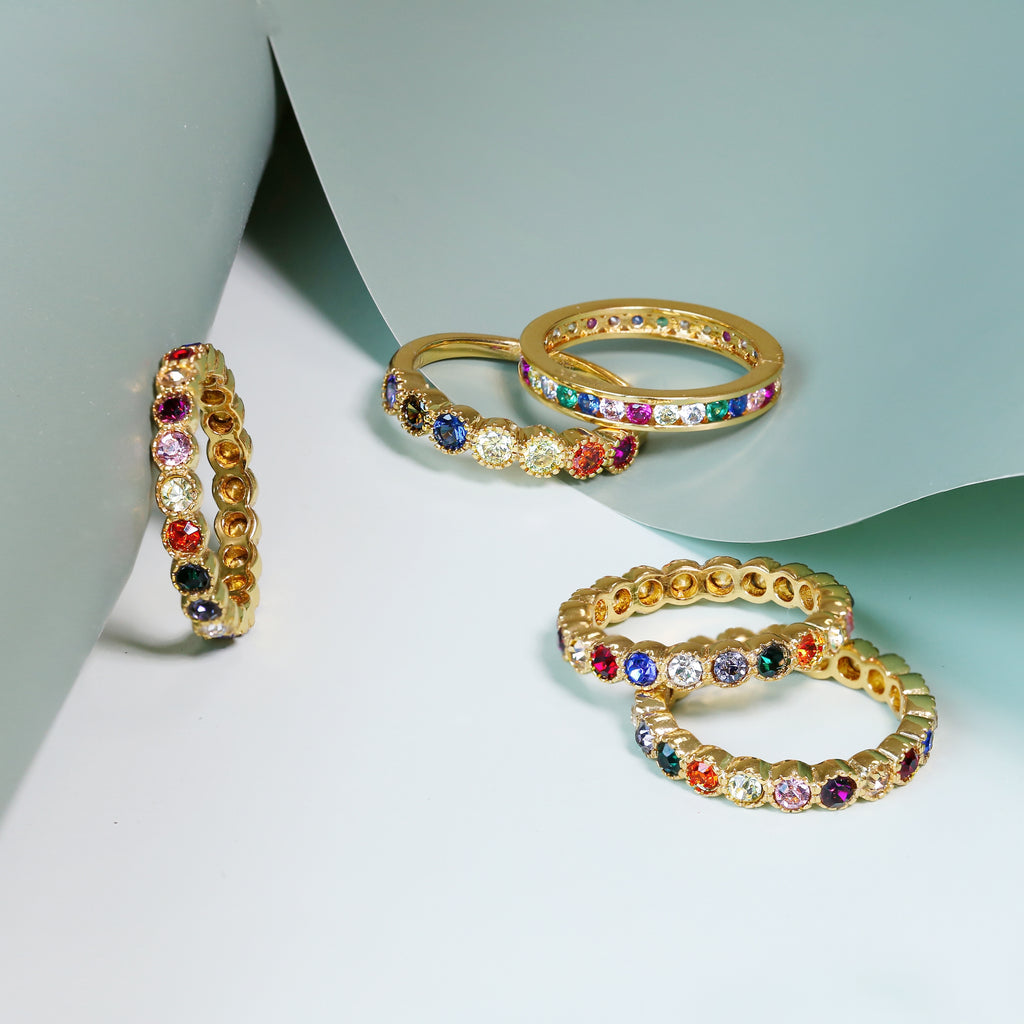 GLOW SOCIETY Shades of Rainbow Collection - Eternity Ring Set