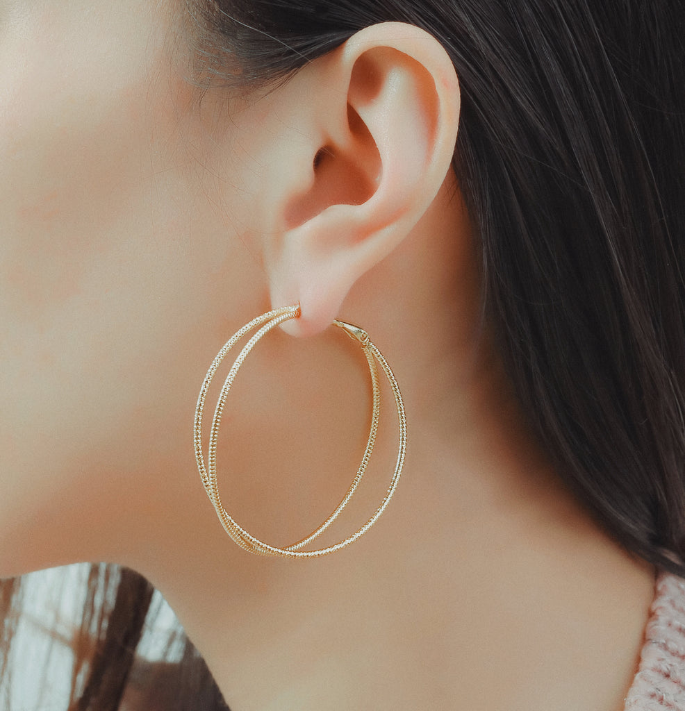 GLOW SOCIETY ATELIER DISKS COLLECTION - Yellow Gold Plated Glitter Mesh Hoop Earrings