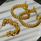 GLOW SOCIETY Link Collection - Textured 14K Gold Plated Chain Bracelet