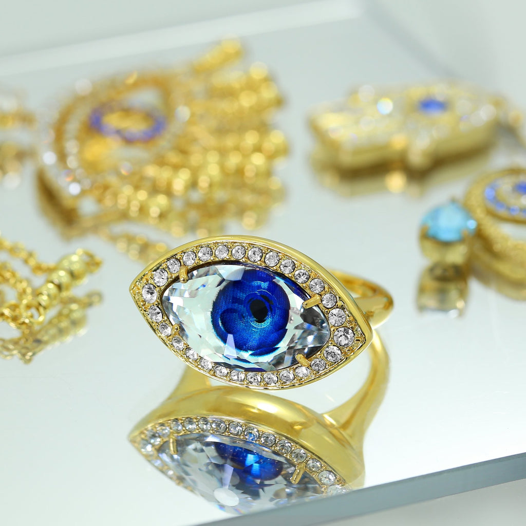 GLOW SOCIETY Evil Eye, Hamsa Collection - Crystal & Sapphire Evil Eye Ring