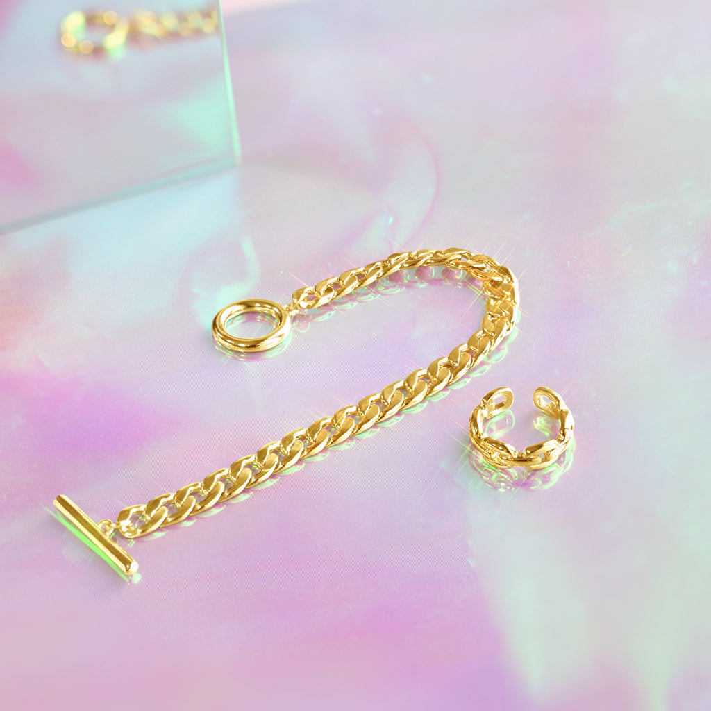 GLOW SOCIETY Link Collection - Boyfriend 14K Gold Plated Chain Bracelet
