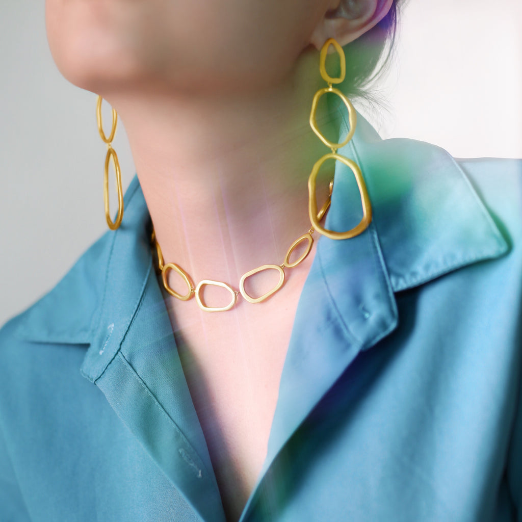 GLOW SOCIETY Curvilinear Forms Collection - Three Organic Shape Link Drop Earrings