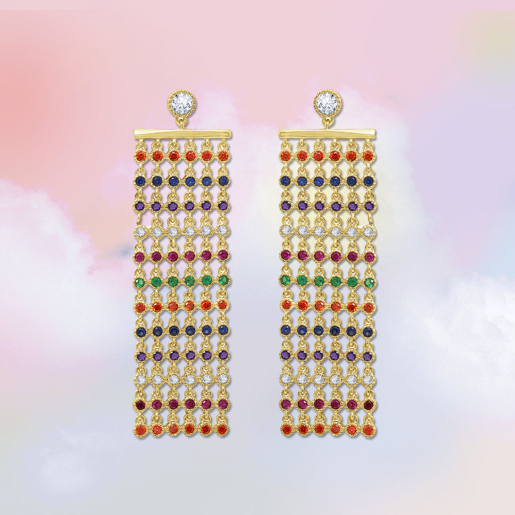 GLOW SOCIETY Shades of Rainbow Collection - Multi Layer Cascade Earrings