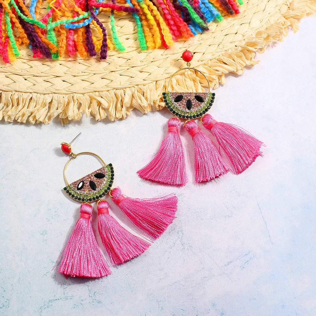 GLOW SOCIETY Fruit Collection - Watermelon Tassle Drop Earrings