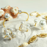 GLOW SOCIETY Pearl Collection - Curvy Bars with Pearl & CZ Ring (Adjustable)