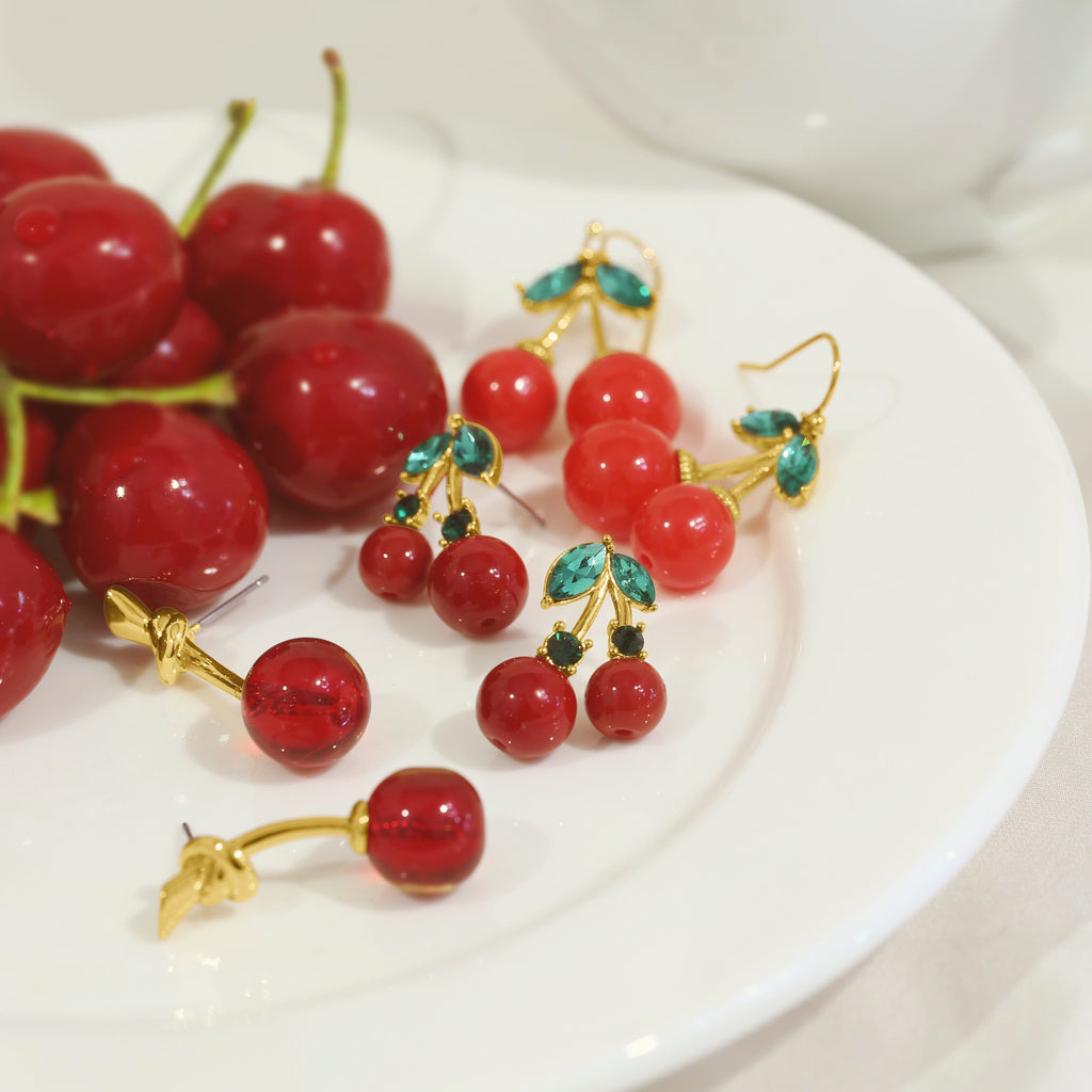 GLOW SOCIETY Fruit Collection - Riped Red Cherry With Green Crystal Leaves Earrings