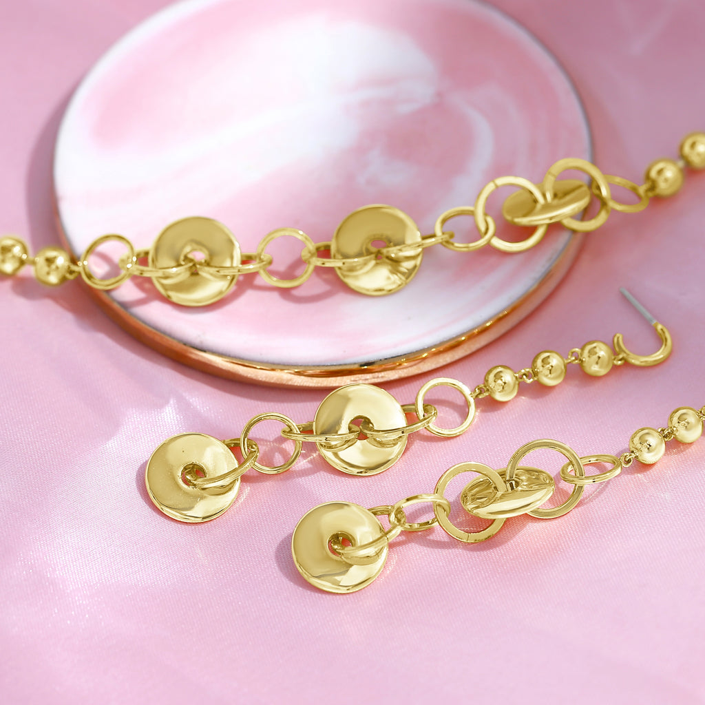 GLOW SOCIETY HOOP STACK COLLECTION - 14K Gold Plated Disk, Hoop and Ball Drop Stud Earrings