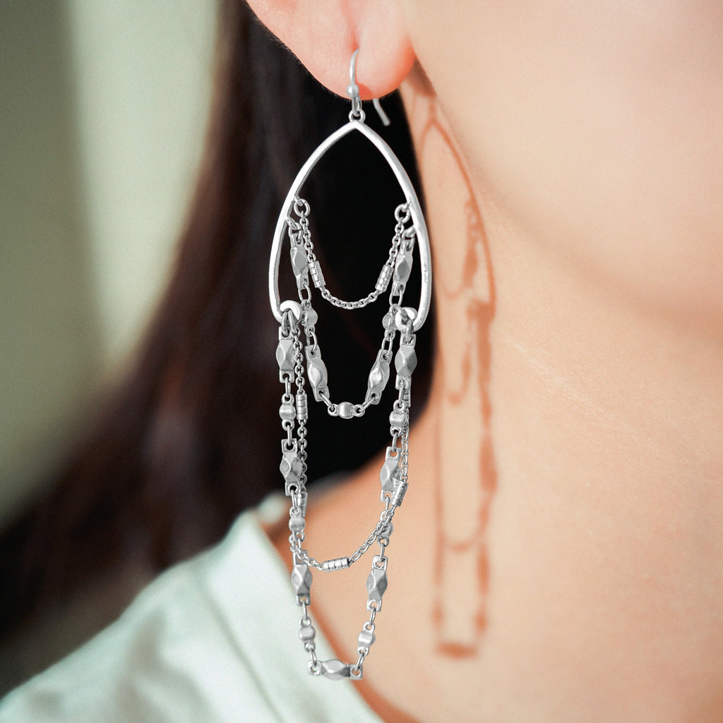 GLOW SOCIETY Chandelier Collection - Multiple Fringe Chain Dangle Earrings