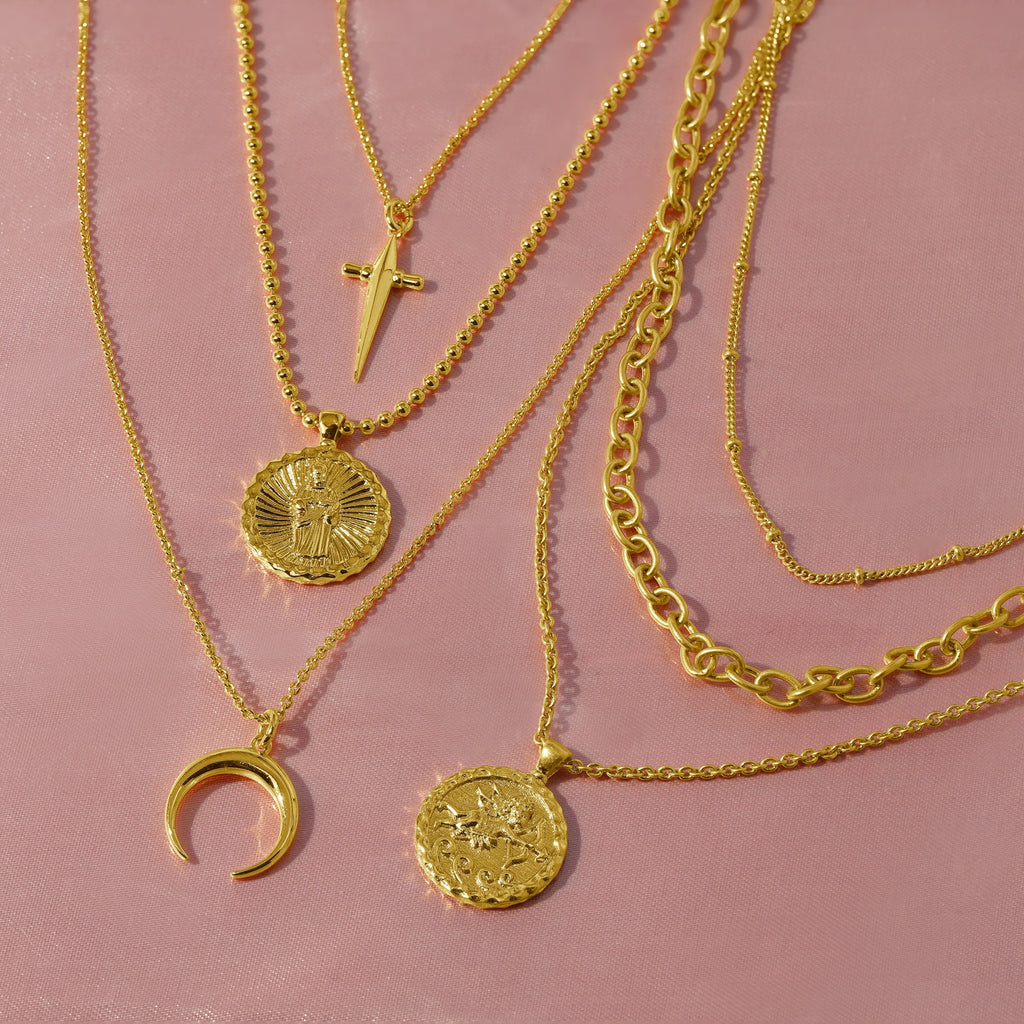 GLOW SOCIETY Coin Collection - Cross, Charm & Moon Layered Necklace