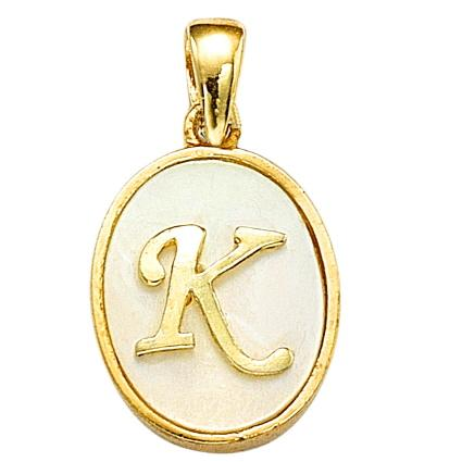 "GEMOUR Gold Plated Sterling Silver Cubic Zirconia Initial ""K"" Pendant - GEMOUR"