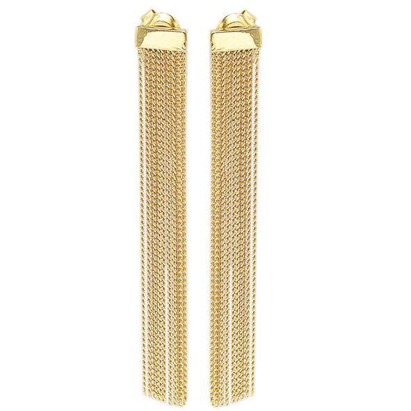 GEMOUR Yellow Gold Plated Sterling Silver All Metal Tassel Dangle Earrings - GEMOUR