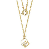 GEMOUR Yellow Gold Plated Sterling Silver Cubic Zirconia Geometric Cube Pendant Necklace - GEMOUR