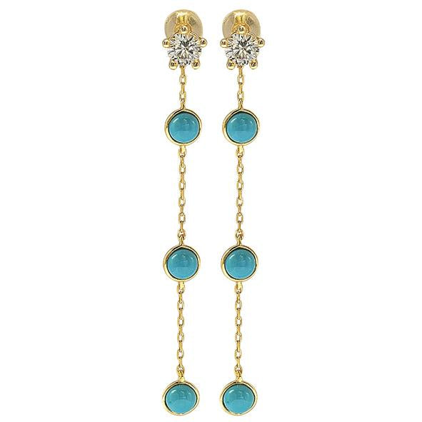 GEMOUR Yellow Gold Plated Sterling Silver Cubic Zirconia and Turquoise Journey Dangle Earrings - GEMOUR