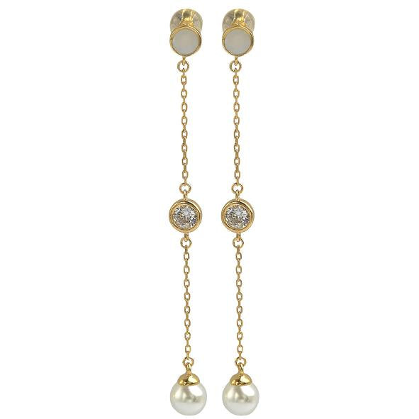 GEMOUR Yellow Gold Plated Sterling Silver Cubic Zirconia and Pearl Long Dangle Earrings - GEMOUR