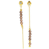 GEMOUR Yellow Gold Plated Sterling Silver Cubic Zirconia Contrary Long Dangle Earrings - GEMOUR