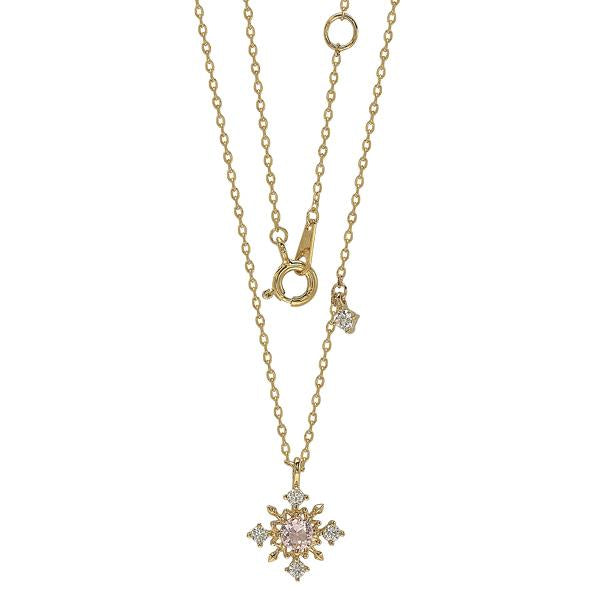 GEMOUR Yellow Gold Plated Sterling Silver Cubic Zirconia Snowflake Pendant Necklace - GEMOUR