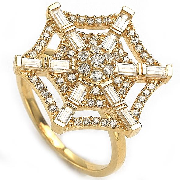 "GEMOUR ""Speak Yourself Collection"" Yellow Gold Plated Sterling Silver Cubic Zirconia Spider Web Ring - GEMOUR"