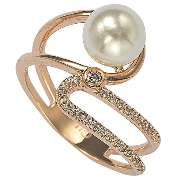 "GEMOUR ""Speak Yourself Collection"" Yellow Gold Plated Sterling Silver Cubic Zirconia Freshwater Cultured Pearl Open Curve Ring - GEMOUR"