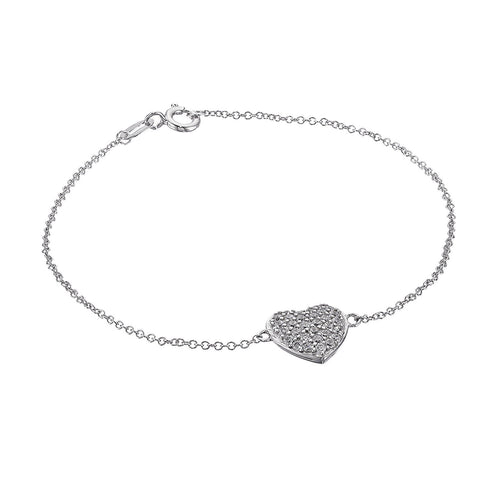 J'ADMIRE Platinum Plated Sterling Silver Swarovski Zirconia One Round Open Heart Adjustable Pendant Necklace, 18""