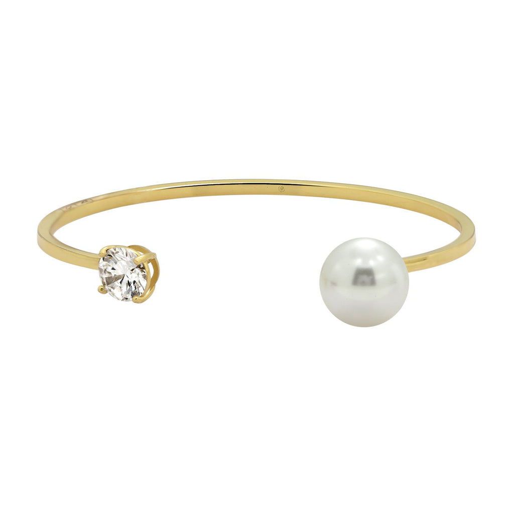 GLOW SOCIETY Pearl Collection - CZ & Pearl Open Bangle Bracelet (Adjustable) - GEMOUR