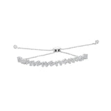 KIERA COUTURE Princess Baguette Sterling Silver Adjustable Bracelet - GEMOUR
