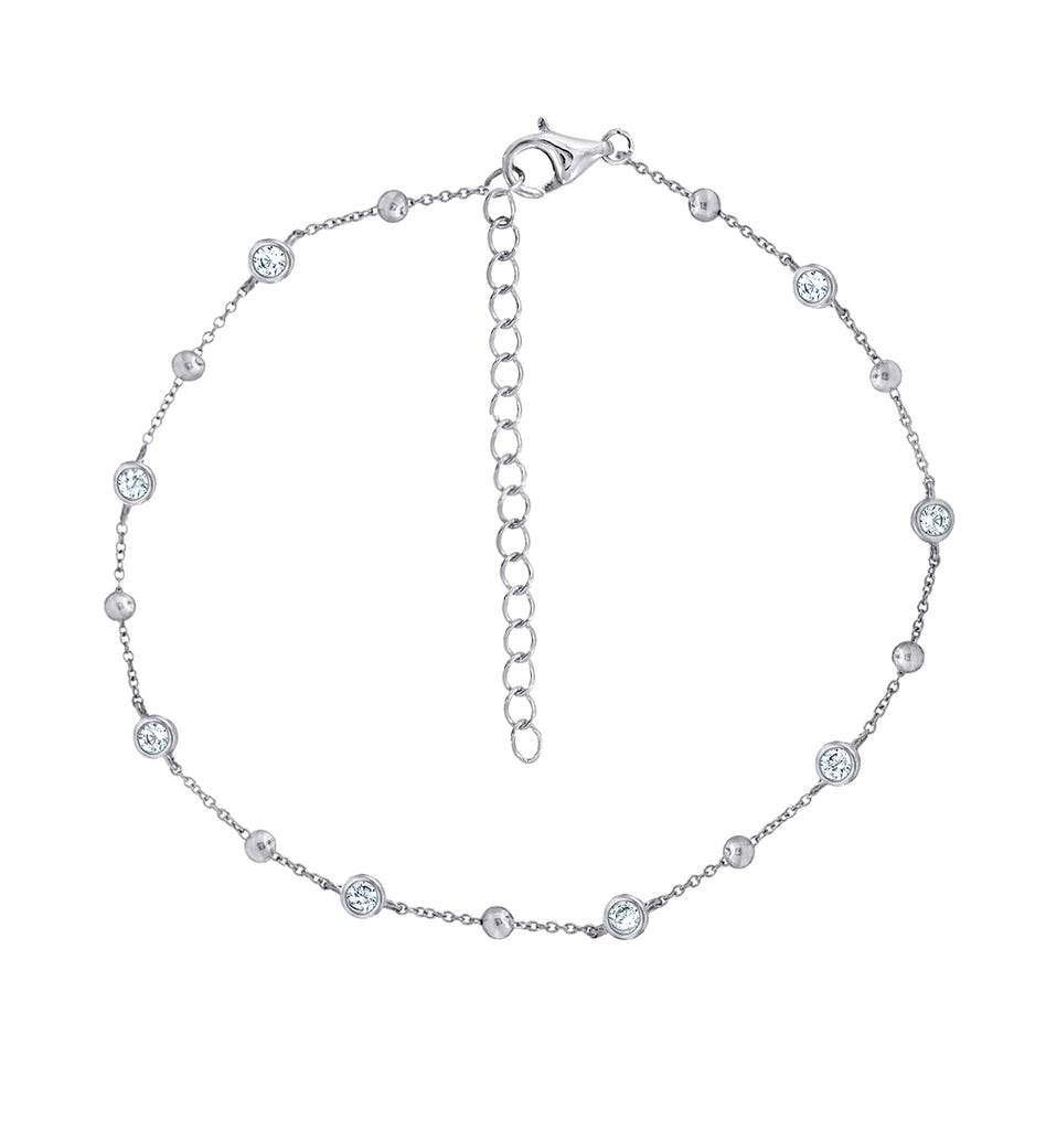 "J'ADMIRE Rhodium Clad Sterling Silver 1 cttw Cubic Zirconia and Ball Station Anklet Bracelet, 7"" + 2"" Extender"