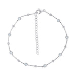 J'ADMIRE Rhodium Clad Sterling Silver 1 cttw Cubic Zirconia and Ball Station Anklet Bracelet, 7