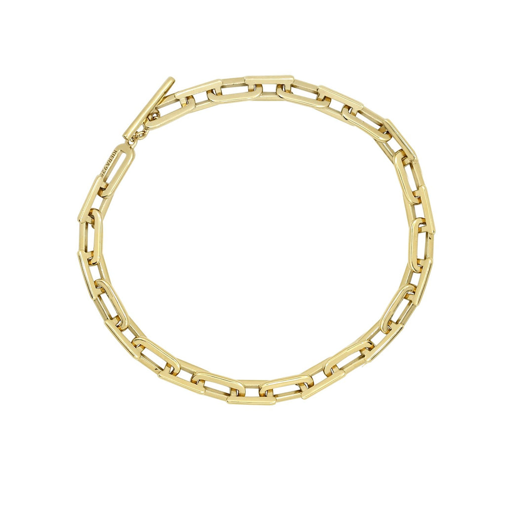 KIERA 14K Yellow Gold Clad Sterling Silver Bold Flat Oval Link Chain Toggle Bracelet, 7.5""