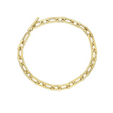 KIERA 14K Yellow Gold Clad Sterling Silver Bold Flat Oval Link Chain Toggle Bracelet, 7.5