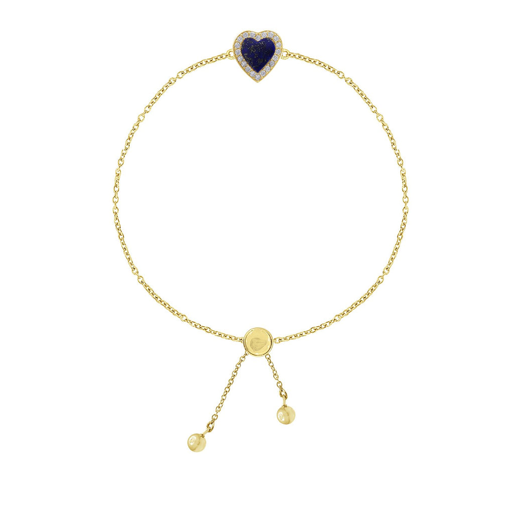 KIERA 14K Yellow Gold Clad Sterling Silver Vintage Halo Natural Gemstone Heart Bolo Bracelet