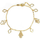 GEMOUR Yellow Gold Plated Sterling Silver Cubic Zirconia Alternating Hamsa Station Bracelet - GEMOUR