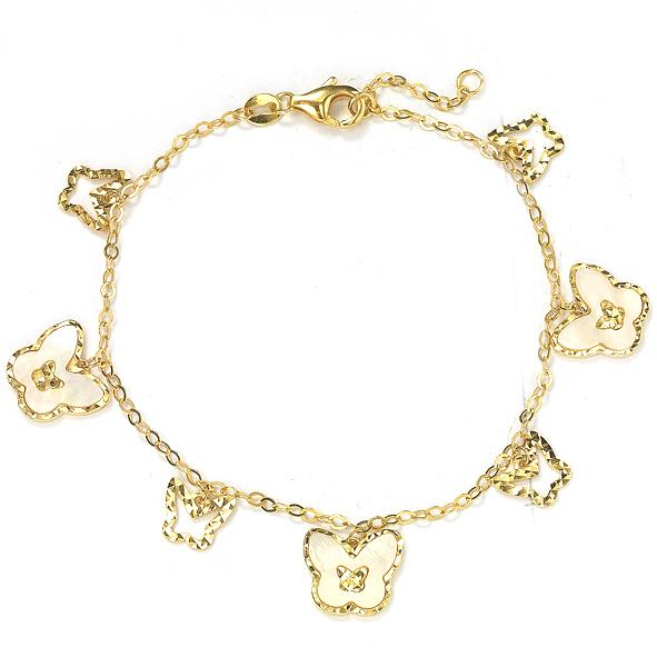 GEMOUR Yellow Gold Plated Sterling Silver Cubic Zirconia Alternating Butterfly Station Bracelet - GEMOUR