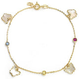 GEMOUR Yellow Gold Plated Sterling Silver Cubic Zirconia Alternating Butterfly and Bezel Round Station Bracelet - GEMOUR
