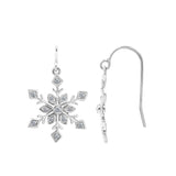 J'ADMIRE Platinum Plated Sterling Silver Whimsical Snowflakes Drop Earrings (0.21 cttw) - GEMOUR