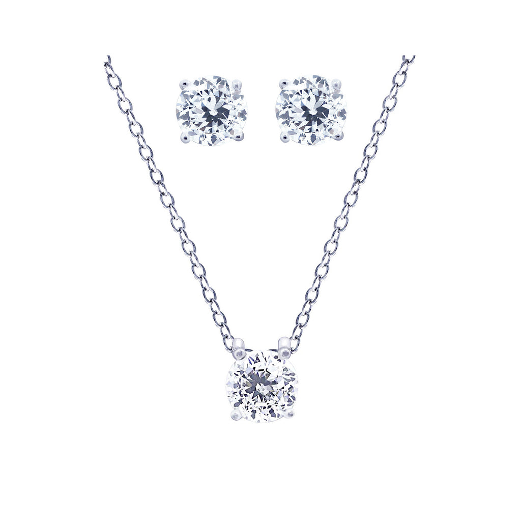 Classic Solitaire Necklace and Stud Earring Jewelry Set - GEMOUR