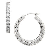 The Classic' Round Brilliant Profile Hoop Earrings - GEMOUR