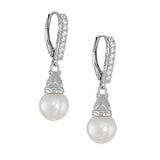CZ Freshwater Cultured Pearl Drop Leverback Earrings - GEMOUR