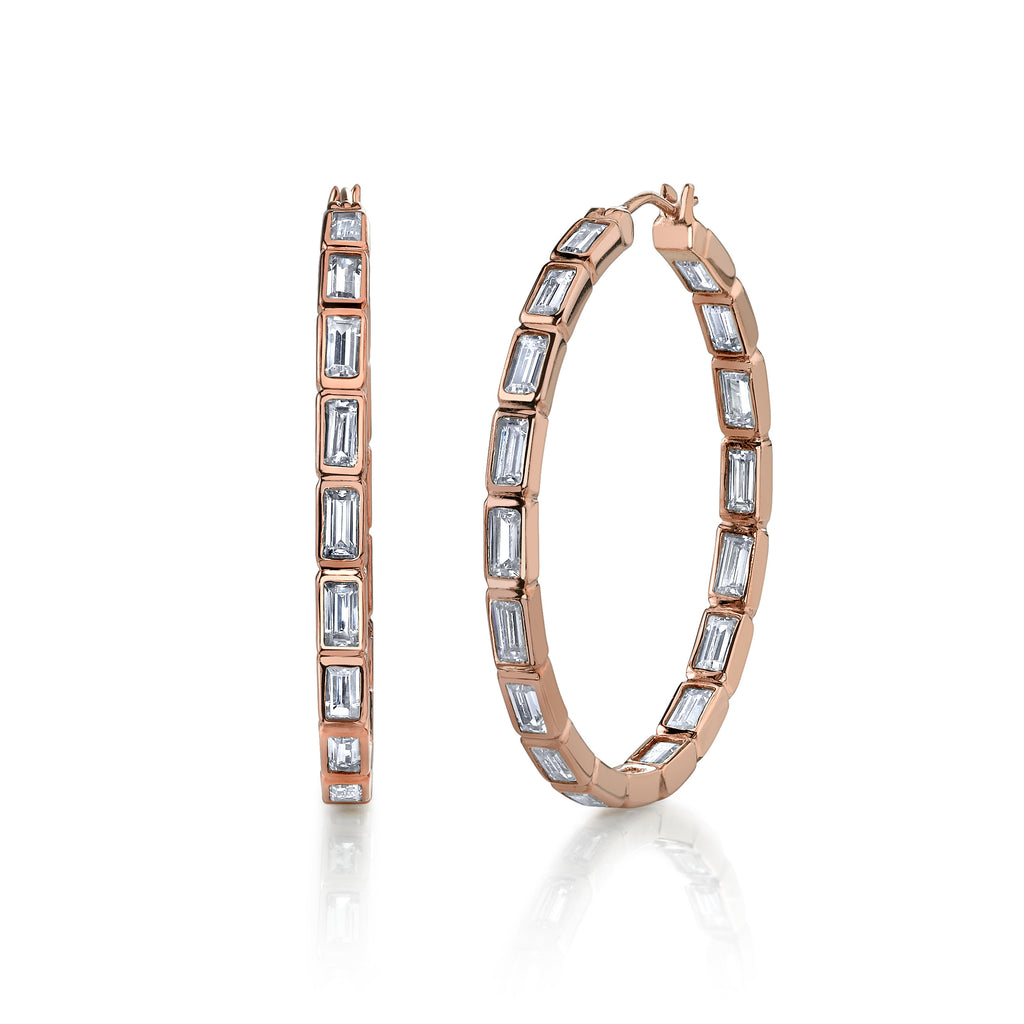 Kiera New York Baguette Cut In and Out Hoop Earrings - GEMOUR
