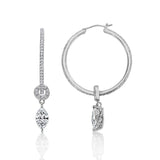 Kiera Couture Sterling Silver Marquise CZ Drop Hoop Earring - GEMOUR