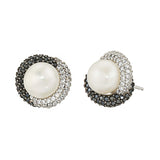 Black & White CZ Freshwater Cultured Pearl Stud Earrings - GEMOUR