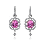 GEMOUR COLLECTION Created Pink Sapphire Framed Earrings - GEMOUR