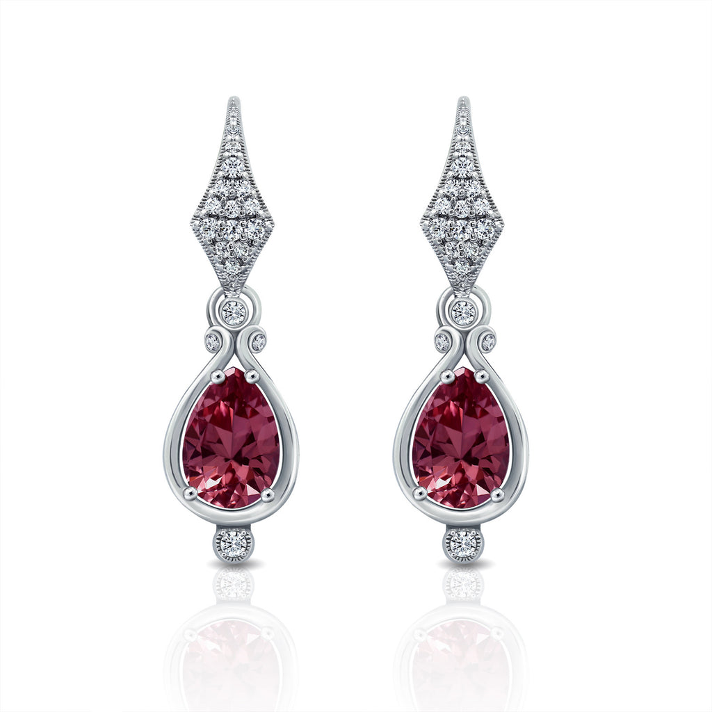 GEMOUR COLLECTION Simulated Tourmaline Pear Cut Earrings - GEMOUR